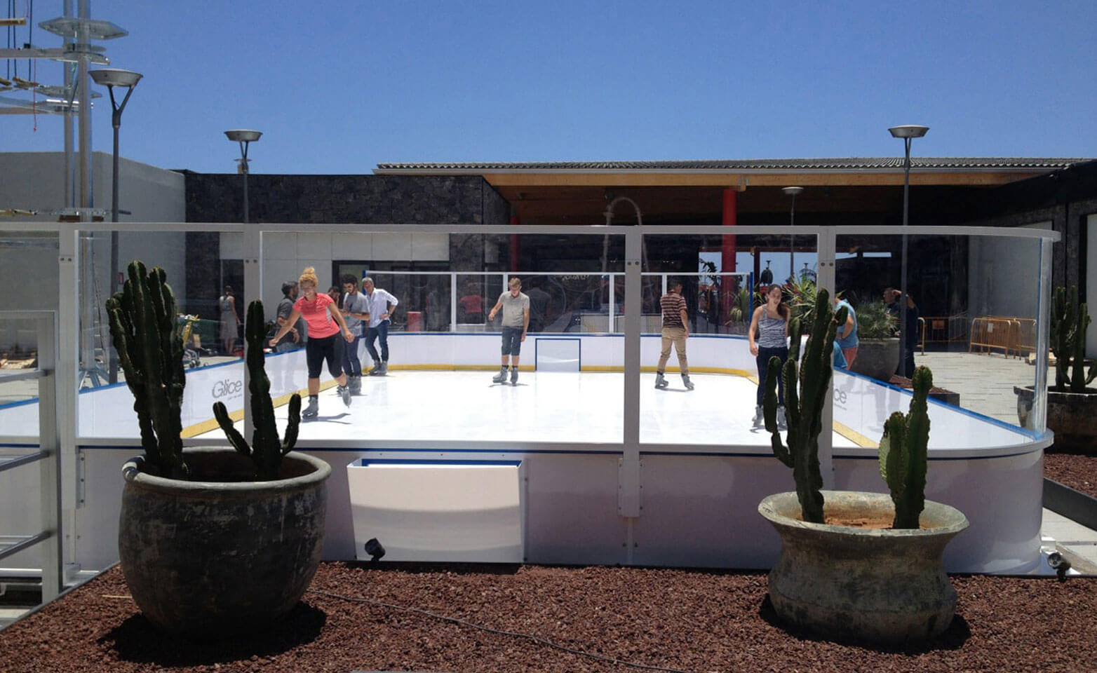 Artificial ice rink mini arena outdoors