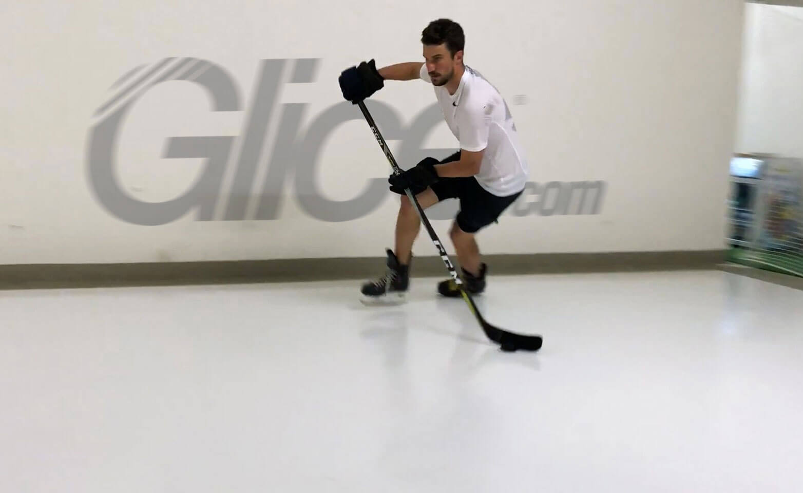 NHL Star Roman Josi practicing on synthetic ice rink