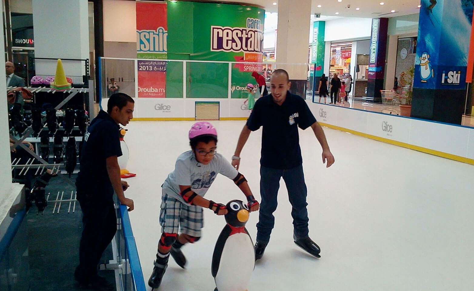Synthetic ice rink mini arena at mall